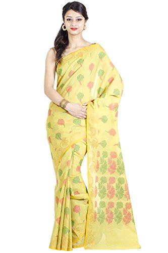 Chandrakala Women's Lemon Cotton Blend Banarasi Saree,Free Size(1104LEM)