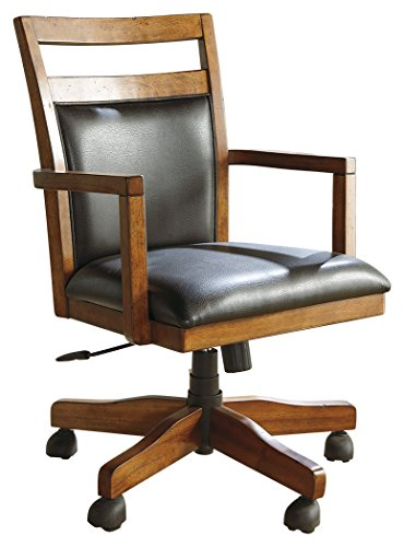 Cheap Ashley Furniture Signature Design – Lobink Home Office Desk Chair – Adjustable Seat – Made of Wood in Butcher Block Design – Brown Faux Leather and Finish
