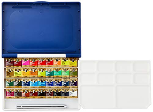 Holbein Watercolor Set: Palm Plastic Case: 36 Half Pans from Holbein