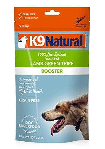 K9 Natural Freeze Dried Dog Food Topper, Perfect Grain Free, Healthy, Hypoallergenic Limited Ingredients For All Dogs, Raw, Freeze Dried Mixer, 100% Lamb Green Tripe Nutrition (2oz)