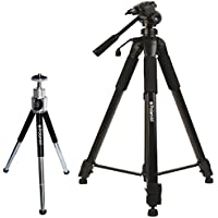 Polaroid 72-inch Photo / Video ProPod Tripod Includes Deluxe Tripod Carrying Case + Additional Quick Release Plate For Digital Cameras & Camcorders and Polaroid 8 Heavy Duty Mini Tripod With Pan Head