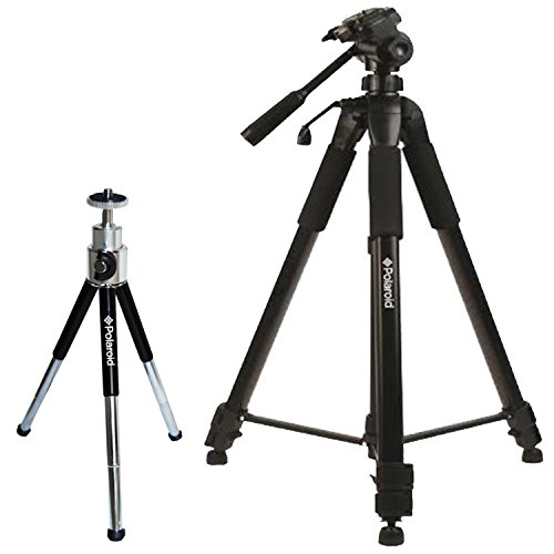 "Polaroid 72-inch Photo / Video ProPod Tripod Includes Deluxe Tripod Carrying Case + Additional Quick Release Plate For Digital Cameras & Camcorders and Polaroid 8"" Heavy Duty Mini Tripod With Pan Head"