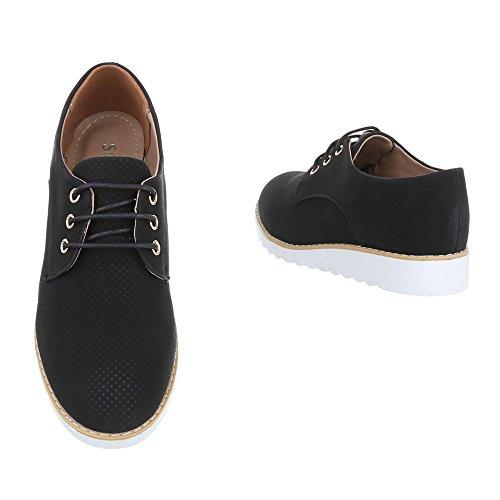 Ital-Design - Zapatos Planos con Cordones Mujer Schwarz 62023