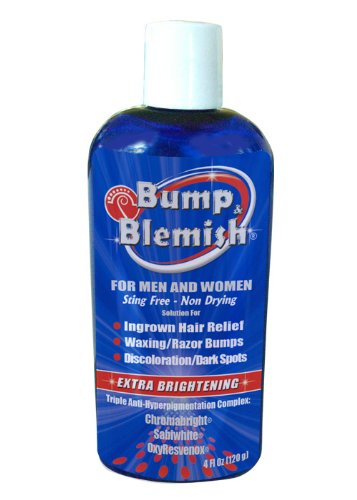 BUMP & BLEMISH 4 Oz (120 ml) CHROME FORMULA- DISC-TOP Solution for all hair removal complications: razor bumps (PFB), razor burn, ingrown hairs AND the dark hyperpigmented spots they leave behind