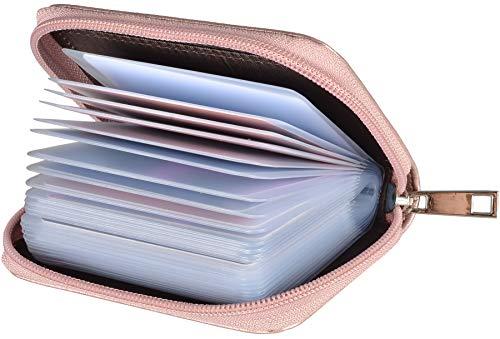 Easyoulife Genuine Leather Credit Card Holder Zipper Wallet With 26 Card Slots (Rose Gold)