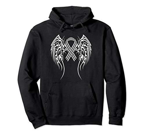 (Lung Cancer Ribbon Hoodie Tribal Wings Hope Sweatshirt)