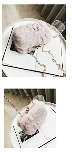 Chain Purse Pink Shoulder Women's Bag Strap with Cross body Bag Fur OVOV Hzqf0TH