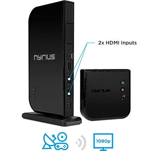 Nyrius ARIES Home+ Wireless HDMI 2x Input Transmitter & Receiver Streaming HD 1080p 3D Video Digital Audio from Cable box, Satellite, Bluray, DVD, PS4, PS3, Xbox One/360, Laptops, PC (NAVS502)