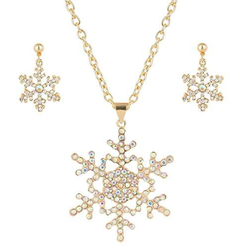 EVER FAITH Austrian Crystal Snowflake Necklace Earrings Set Iridescent Clear AB Gold-Tone -