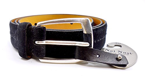 Nat Nast Belt Luxury Original Italian Leather Metal Buckle Logo Nordstrom Rack  Black Suede