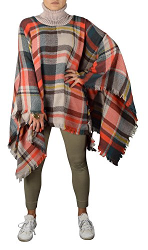 [Peach Couture Cowl Neck Plaid tartan over sized blanket scarf Winter Poncho Sweater Pullovers Brown Orange] (Plaid Cowl Neck)