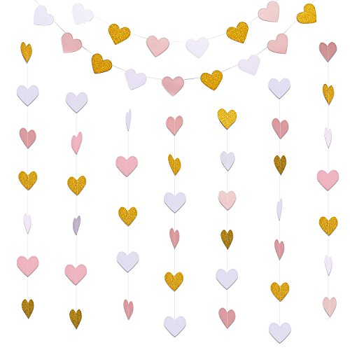 Hestya 2 Pack Paper Heart Garlands Heart Hanging Banner Bunting for Valentine's Day Wedding Party Decoration, 10 Feet Each, Glitter Gold, White and Pink