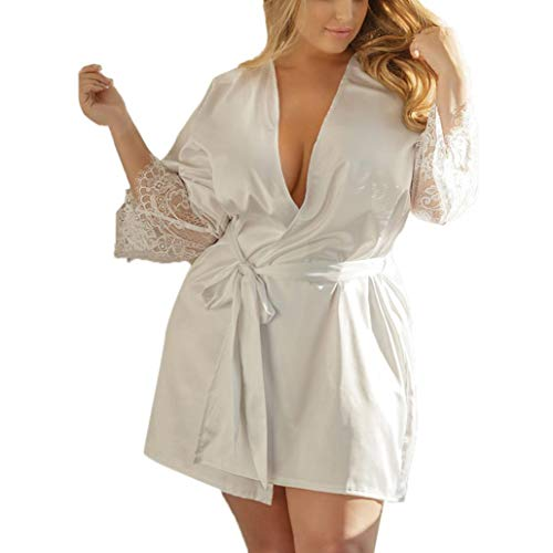 iTLOTL Women Sexy Silk Kimono Dressing Gown Babydoll Lace Lingerie Bath Robe Nightwear(White,XXL)
