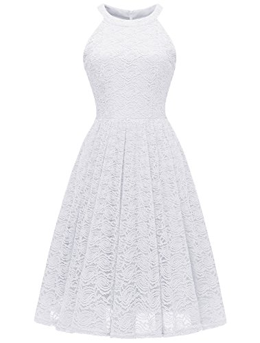 - Modecrush Womens Halter Neck Formal Cocktail Party Floral Lace Wedding Midi Dress L White