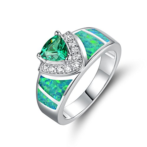 - Sweet & Soft Barzel White Gold Plated Created-Emerald Cubic Zirconia Ring (10)