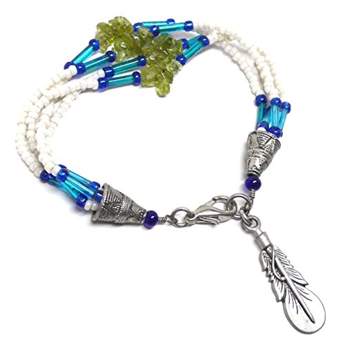 Pewter Feather Peridot Chips Four Strand Beaded Bracelet