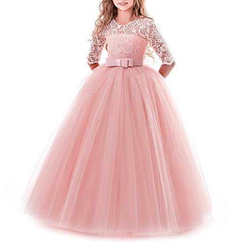 Flower Girls Lace Half Sleeve Tulle Dress Wedding Bridesmaid Communion Evening Party Bowknot Puffy Dress Pink 5-6 -