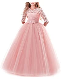 a44da0b310b Girl s Embroidery Tulle Lace Maxi Flower Girl Wedding Dress 3 4 Sleeve Long  A Line