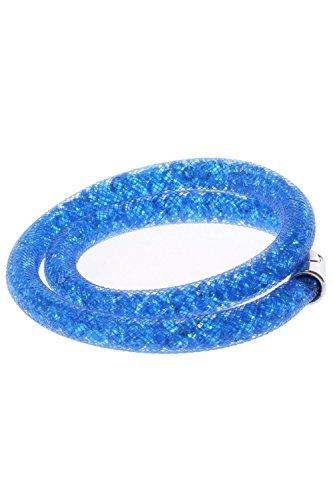 SODIAL(R) Bracelet de maille avec des strass Bracelet de boucle magnetique Bleu