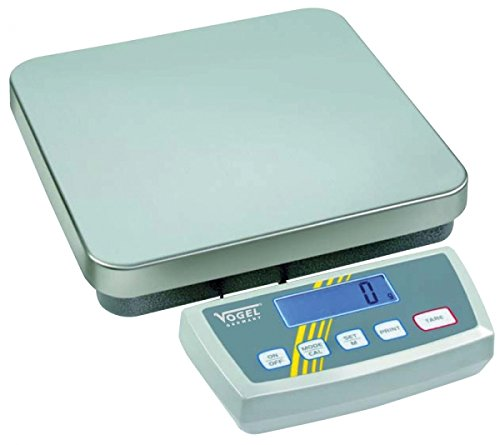 Digital Platform Scale range 30/60kg,read.10/20g, stainless steel plate size 318x308mm,RS232 data output battery 9V (not included), incl. manual by Vogel Germany