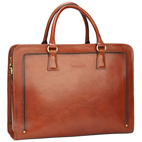 - Banuce Full Grains Italian Leather Women's Briefcase 14 Laptop Bag Attache Case Tote Handbag Satchel Purse Brown