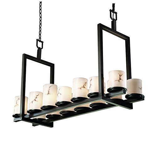 Justice Design Group Lighting Fal-8769-10-Mblk Lumenaria Collection Dakota 14-Light Bridge Chandelier, Short, 44