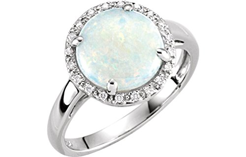 Cabochon Opal and Diamond Halo 14k White Gold Ring, Size 7 by The Men's Jewelry Store (for HER)