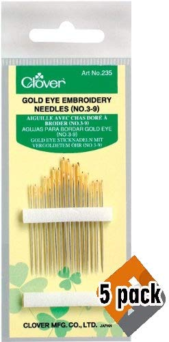 Clover 235 No. 3-9 Gold Eye Embroidery Needles, 5 Pack by Clover