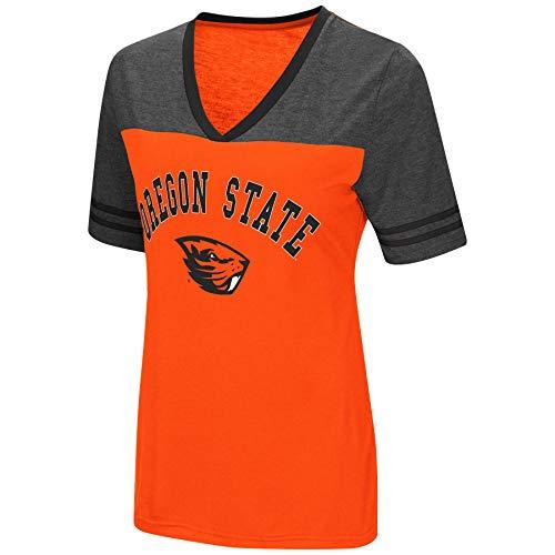 Colosseum Women's NCAA Varsity Jersey V-Neck T-Shirt-Oregon State Beavers-Orange-Medium