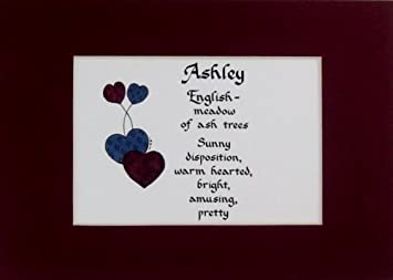 Personalized Name Meaning Ashley Wall Picture Keepsake Gift Made In The USA