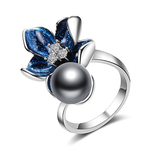Mytys Crystal Blue Flower Rings with Enamel Craft for Women Girl Gift 9 (Enamel Flower Ring)