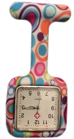 Silicone Watch Nurse Doctor Paramedic Tunic Brooch Fob Watch Medical (Square Colourful Bubbles)