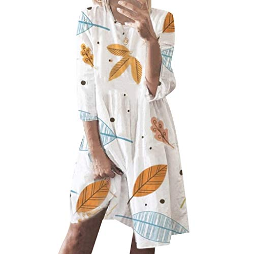 Dress Casual Plain Simple T-Shirt Loose Dress Summer Holiday Style Print Casual Plus Size Ladies Dress (5XL,White)