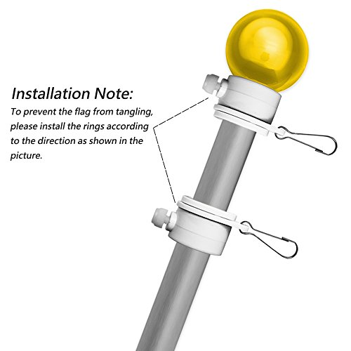 Tangle Free Flag Pole Mounting Ring Clip Rotating