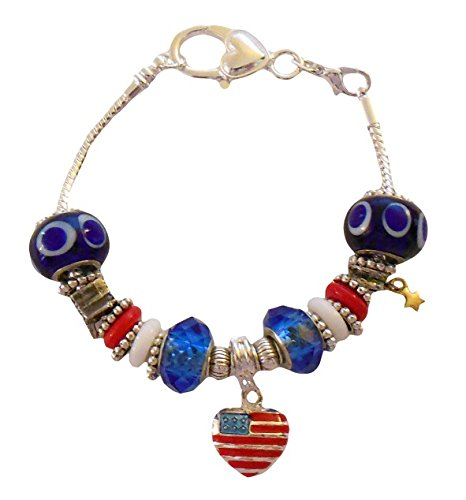 Show Your Patriotic Pride 4th of July Charm and Bead Bracelet 8 Inch Silver Chain IN GIFT BOX