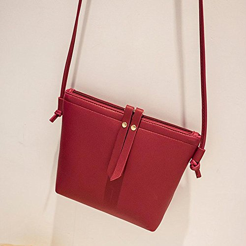 Shoulder Pure Everpert Bags Small Casual PU Red Zipper Women Handbags Leather Messenger zXYSOqzw