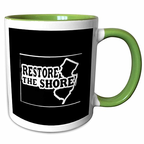 3dRose Xander inspirational sayings - restore the shore, white lettering on black background new jersey - 11oz Two-Tone Green Mug - Jersey Outlets New Shore