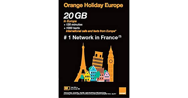 Amazon.com: Orange Holiday Europe tarjeta SIM prepaga para ...