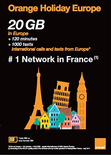 Orange Holiday Europe New Package - 20GB Internet Data in 4G/LTE + 120 mn + 1000 Texts in 30 Countries in Europe ()