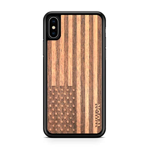 Wooden Phone Case (American Flag in Mahogany) Compatible with iPhone Xs Max, iPhone 10s Max