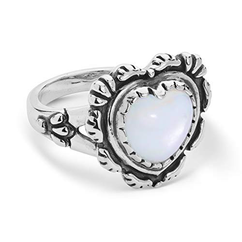 American West Sterling White Mother of Pearl Gemstone Tooled Heart Ring Sizes 8