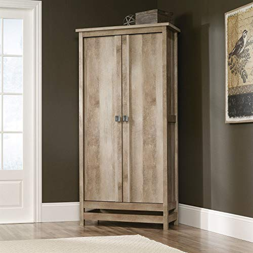 (Cottage Style Wardrobe Armoire Storage Cabinet in Light Oak Wood Finish)
