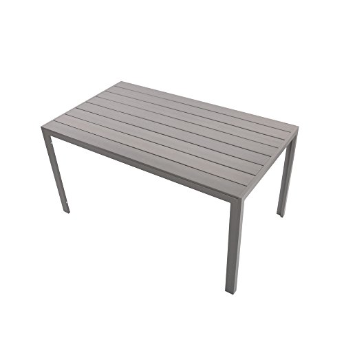 """KARMAS PRODUCT Patio Dining Table Outdoor Aluminum Rectangle Table,All Weather Resistant,Size 55.1""""L X 31.5""""W X 28.3""""H,Gray -"""