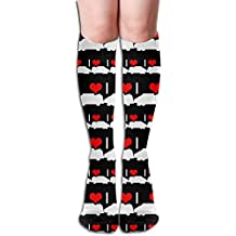 I Heart Love Garbage Truck Women's Knee High Leg Warmers Warmers Crochet Socks High Socks