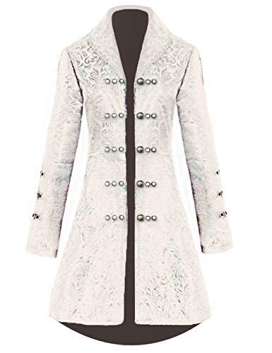 Womens Vintage Tailcoat Jacket Steampunk Victorian Uniforms Formal Tuxedo Coat (S, Beige) ()
