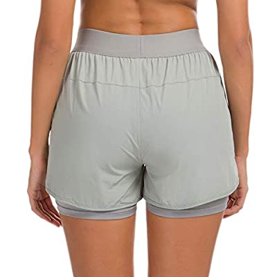 Custer's Night Women Workout Fitness Running Shorts, Double Layer Elastic Waistband Jogging Shorts 2-in-1: Clothing