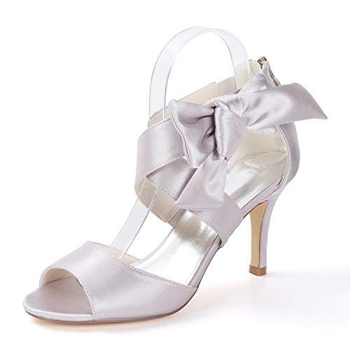 Tacón Con Tacones Mujer Alto L Peep De Cm Corte Silver yc Zapatos Toe Para Satén 8 5 Pliegues xaqPqrtn0