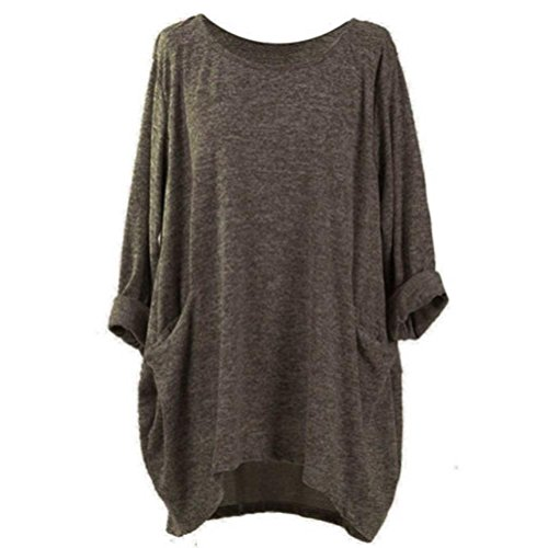 BODOAO Womens Loose Pocket Sweatshirts Casual Tunic Tops Long Sleeve Blouses (X-Large, Coffee)