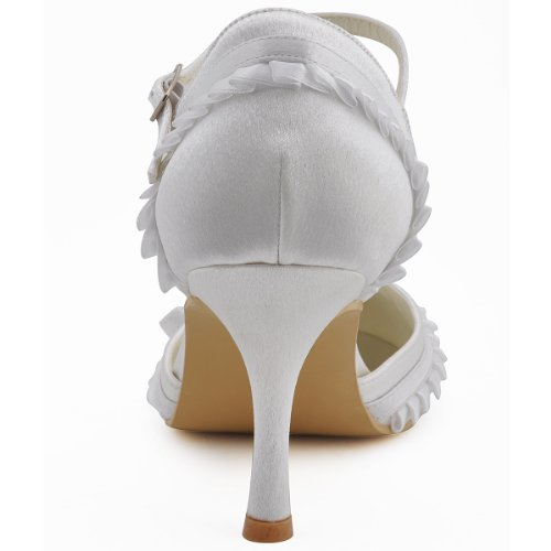Elegantpark - Zapatos de Vestir de satén Mujer Blanco - blanco