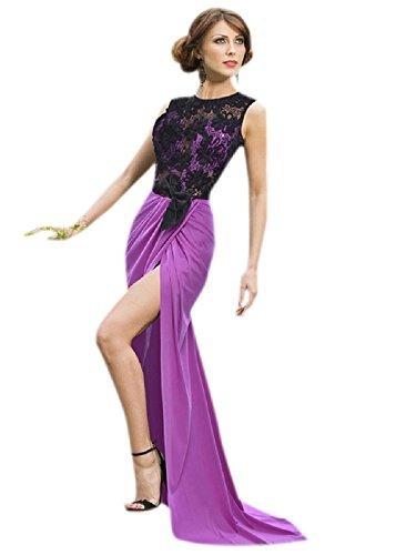 Elegante Damen violett & schwarz Spitze Open Back Wrap Rock Abend Cocktail Ball Kleid Party Dance Club Wear Größe L UK 12EU 40